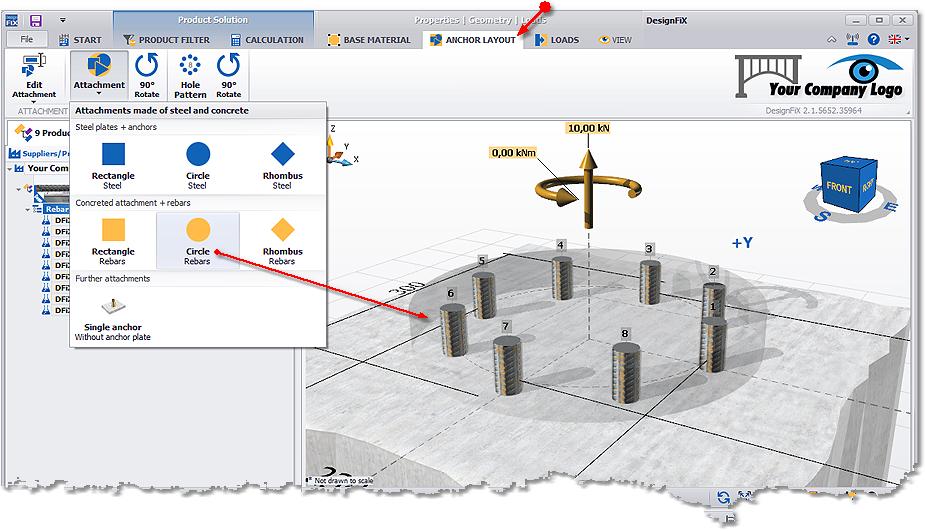 DesignFiX: Round attachment of concrete + rebars