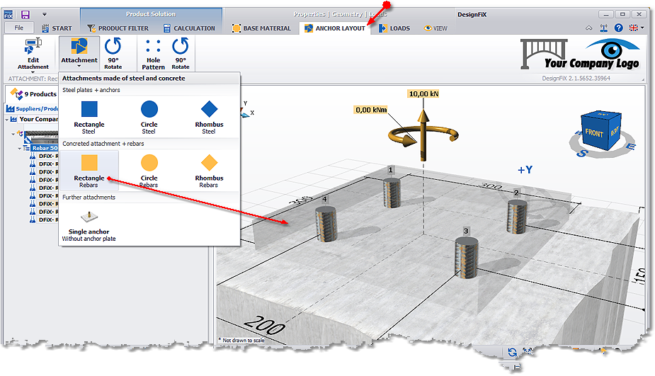 Rectangular attachment of concrete + rebars